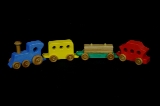 Handmade Colored Maple Train