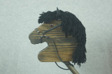 Black Wooden Stick Horse Black Mane