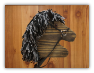 Black Wooden Stick Horse Black Gray Mane