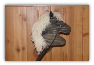 Black Wooden Stick Horse Ivory Mane