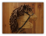 Brown Wooden Stick Horse Brown Beige Mane