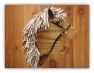 Brown Wooden Stick Horse Beige White Mane