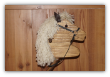 Brown Wooden Stick Horse Ivory Mane