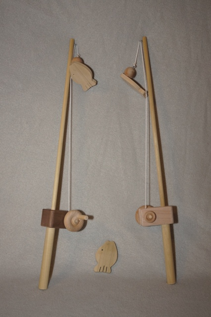 Natural wooden fishing pole for Youth fishing pole