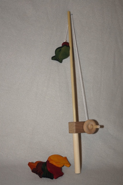 Walnut wooden toy fishing pole for Wooden fishing pole